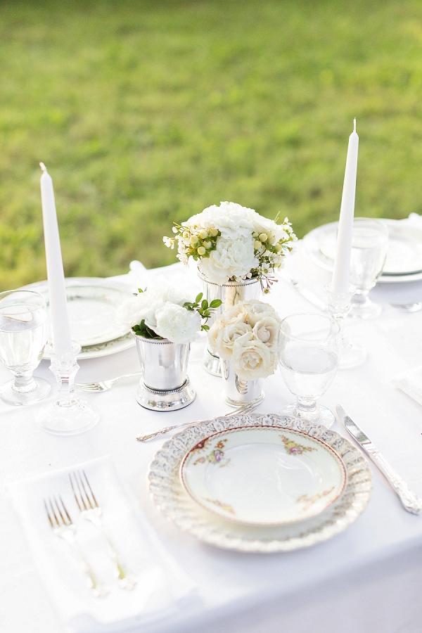 Classic white wedding setting