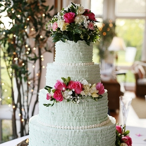 Mint ruffled wedding cake