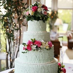 Mint ruffled wedding cake