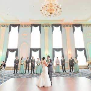 Classic mint-colored ballroom