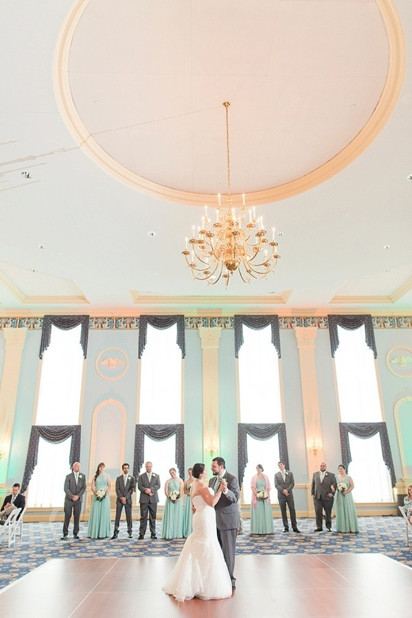 Classic mint-colored ballroom