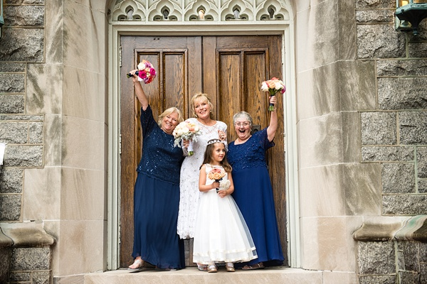 Older bridesmaids and bride