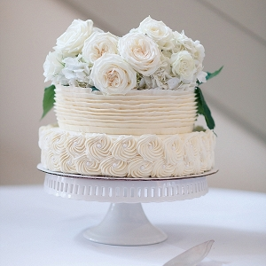 Sweet little ruffled wedding cake