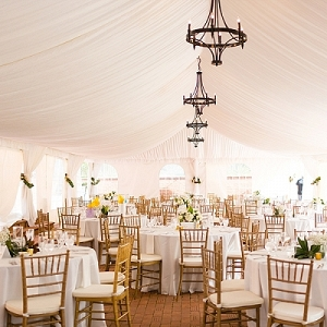 Classic ivory and gold wedding tent