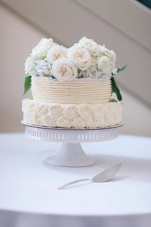Sweet little ruffled wedding cake