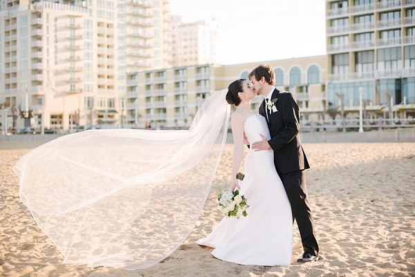 Classic bride and groom on beach