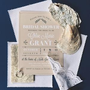 Vintage rustic coastal beach bridal shower invitation