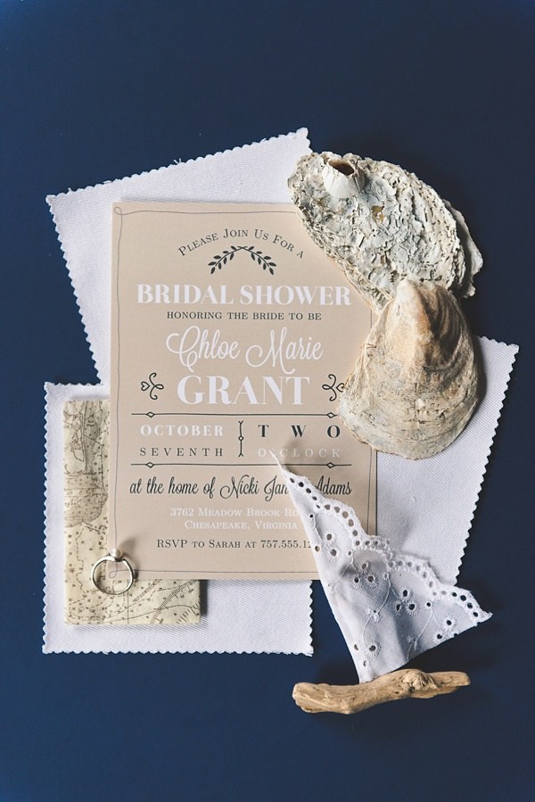 Vintage rustic coastal beach bridal shower invitation