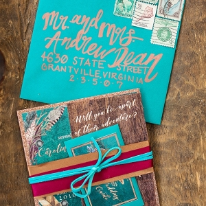 Boho teal turquoise wedding invitation
