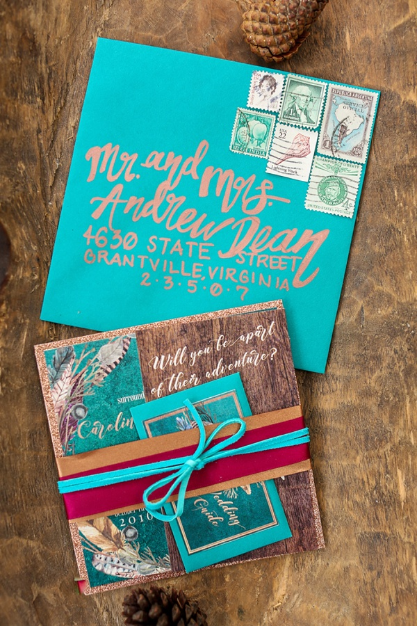 Boho teal turquoise wedding invitation