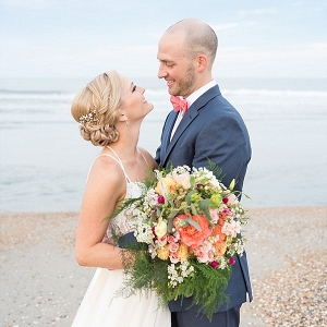 Outer Banks beach wedding bride and groom