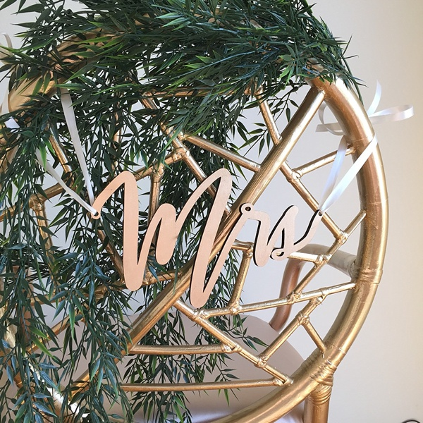 Copper Wedding Chair Sign