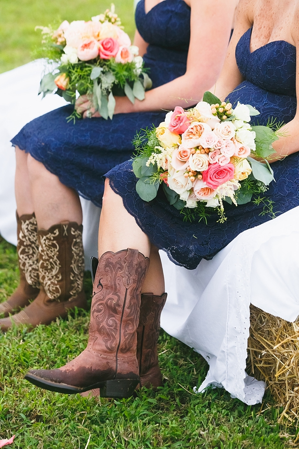 Navy blue bridesmaid dresses with cowgirl boots