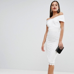 Bardot neck lace dress ASOS