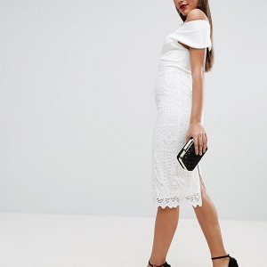White Lace Skirt Body Con Dress