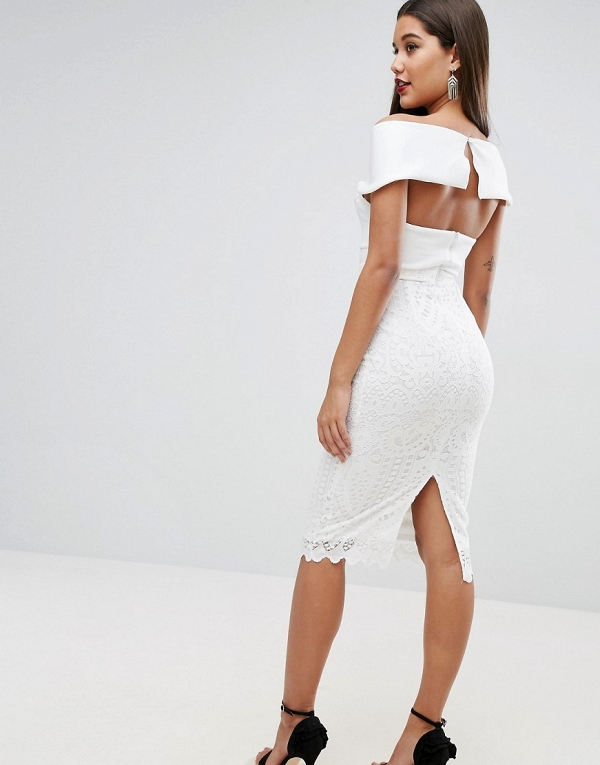 White Open Back Midi Dress