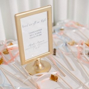 Gold frame for wedding exit idea
