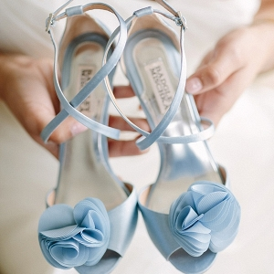 Serenity blue colored bridal shoes