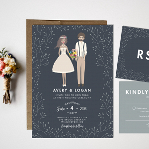 Custom Portrait Wedding Invitation Suite