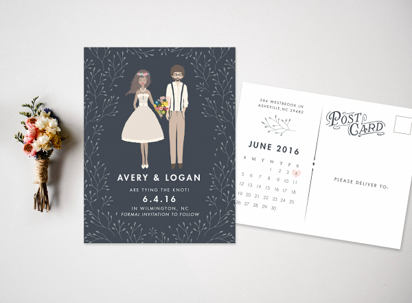 Custom Portrait Wedding Save the Date