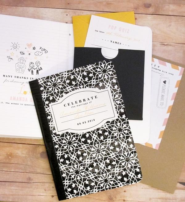 School inspired composition book wedding invitation