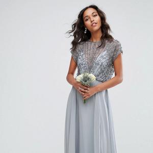 Beaded Bodice Maxi Bridesmaid Dress