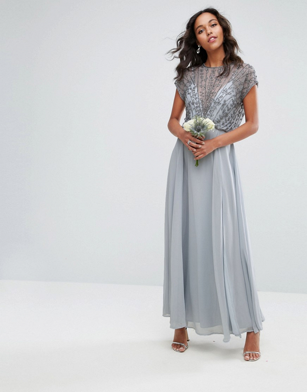Beaded Bodice Maxi Bridesmaid Dress