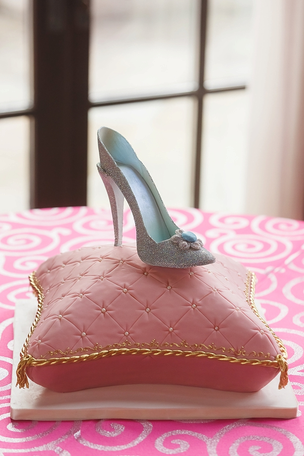 Pink Cinderella glass slipper wedding cake