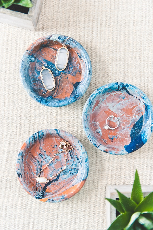 Blue Marbled Ring Dishes