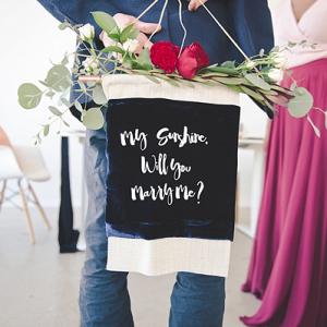 DIY velvet wedding proposal banner