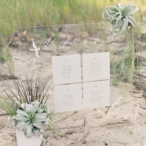 Beach wedding seating chart with air plants