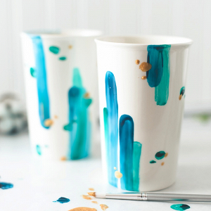 DIY Painted Travel Mugs for Bridesmaid and Groomsman Gifts