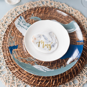 DIY Painted Glass Wedding Charger Plates