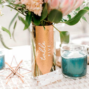 DIY Copper Wedding Table Number Vase