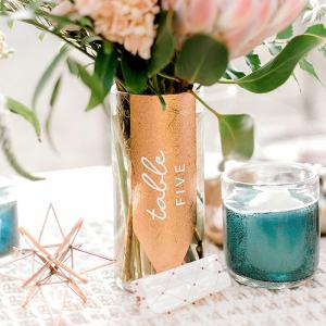 DIY Copper Wedding Table Number Vase
