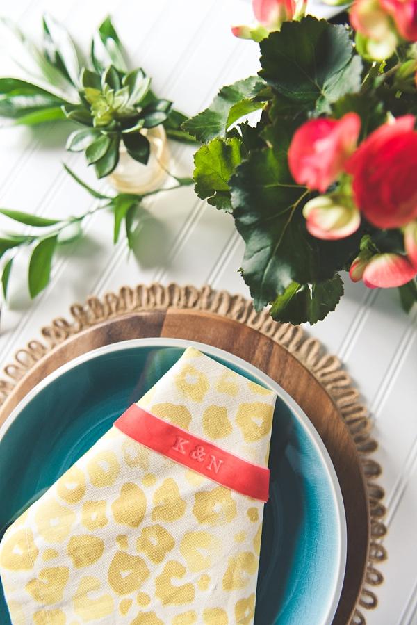 Easy Wedding DIY Embossed Velvet Napkin Bands