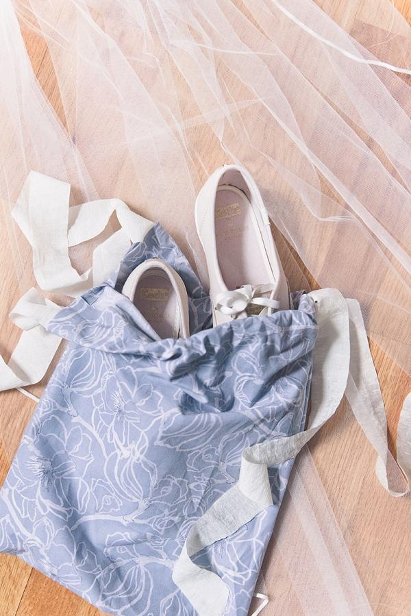 DIY bridal wedding shoe bag