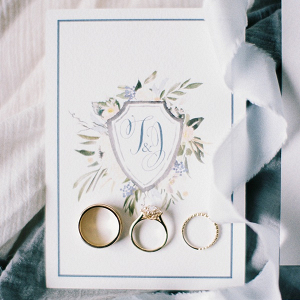 Dusty blue watercolor wedding crest