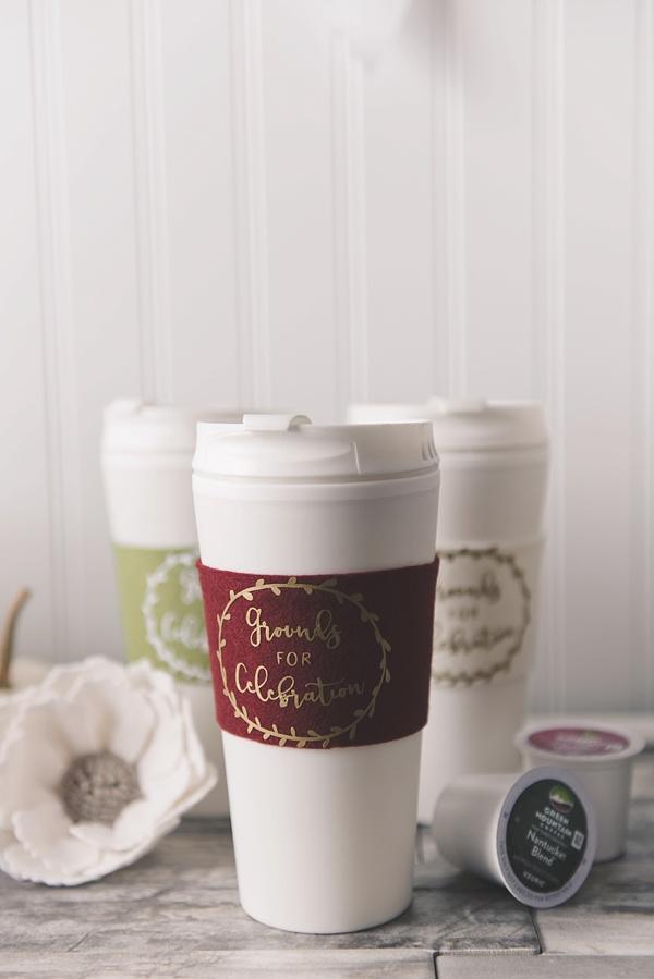 No Sew Felt Coffee Cozies for Fall Bridal Shower