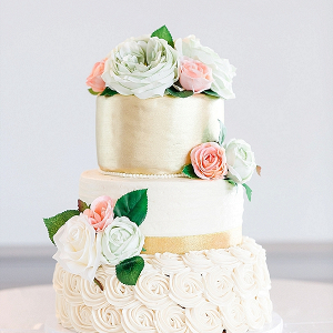 Pretty Gold Wedding Cake