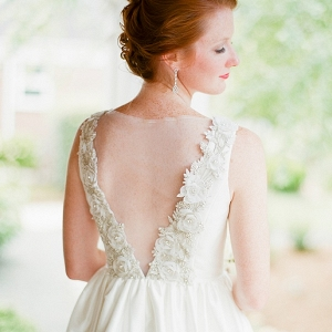 Wedding dress with illusion back