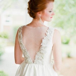 Wedding dress with illusion back