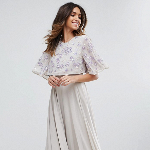 Embellished Flutter Sleeve Maxi Dress