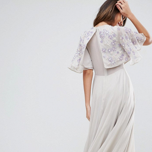 Embellished Flutter Sleeve Maxi Dress Back
