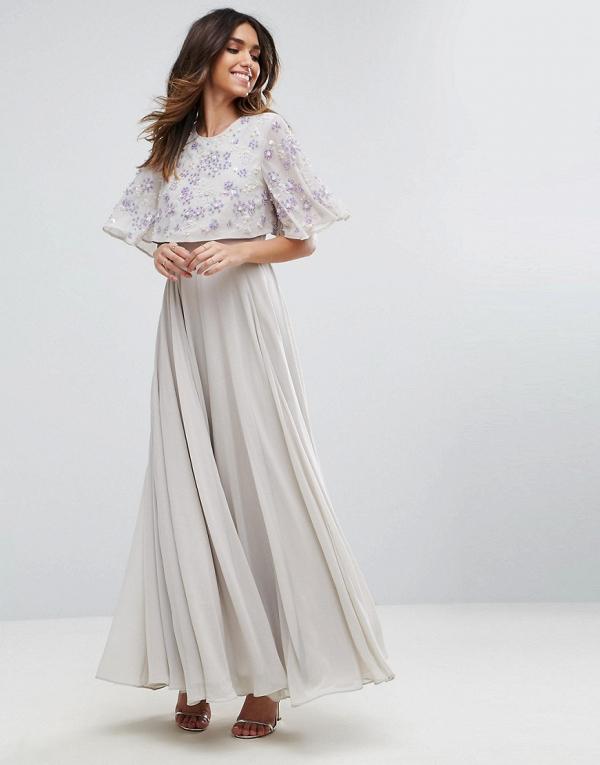 Embellished Flutter Sleeve Maxi Dress