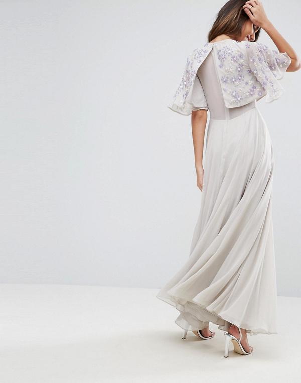 Embellished Flutter Sleeve Maxi Dress Back