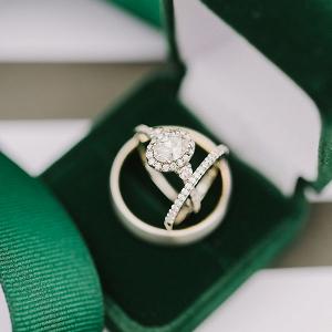 Emerald Green Velvet Ring Box