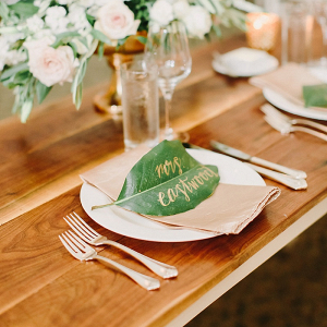 Leaf Place Cards with Gold Calligraphy