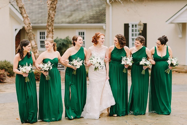 Bridesmaids in Emerald Green Dresses
