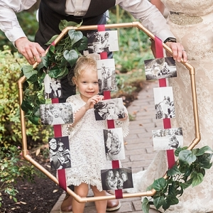 Memory hoop with black and white photos
